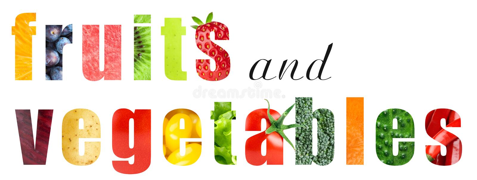 Fruits and vegetables. Word concept vector illustration