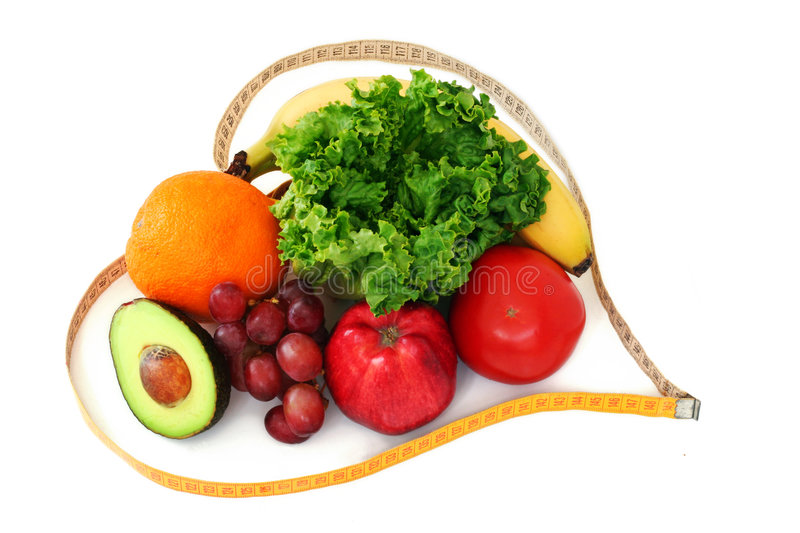 Fruits and veggies in heart tape stock image