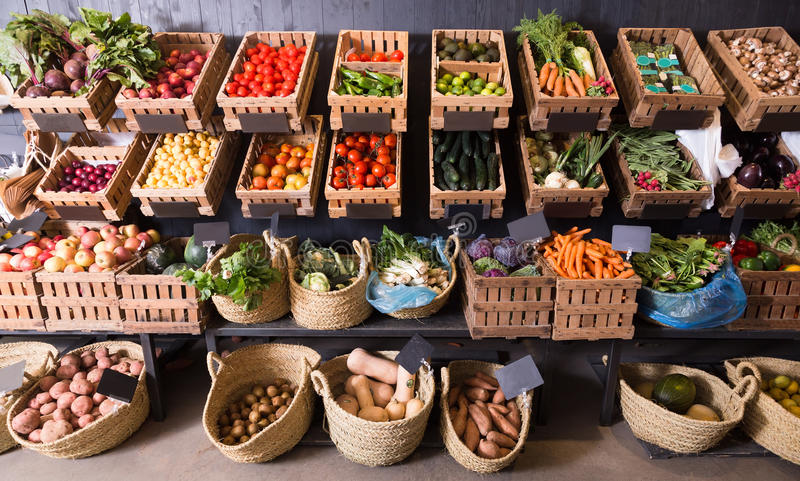 Fruits and veggies store royalty free stock photos
