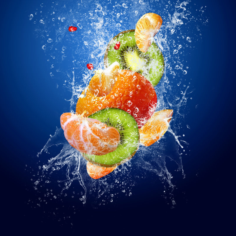 Fruits in water stock image