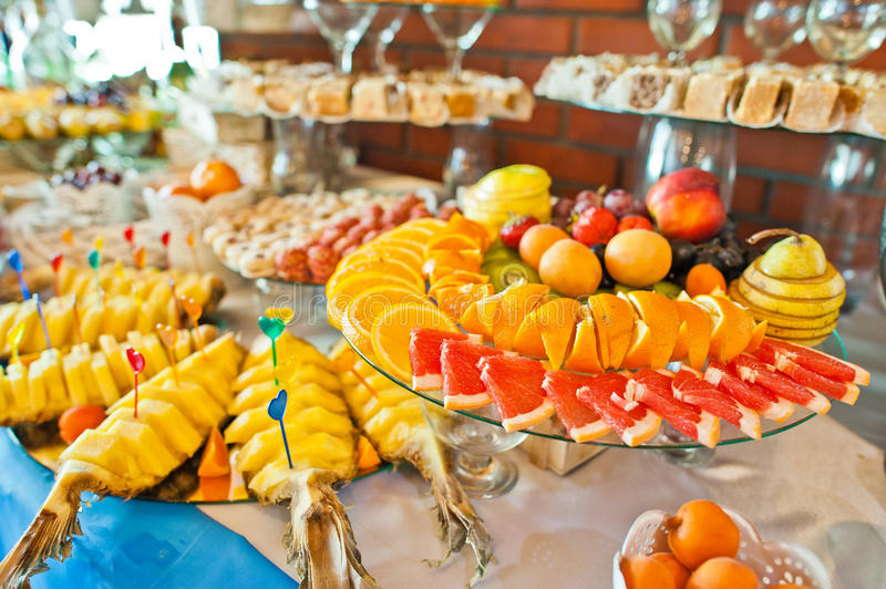 Fruits on wedding reception. Food and drink on wedding reception stock image