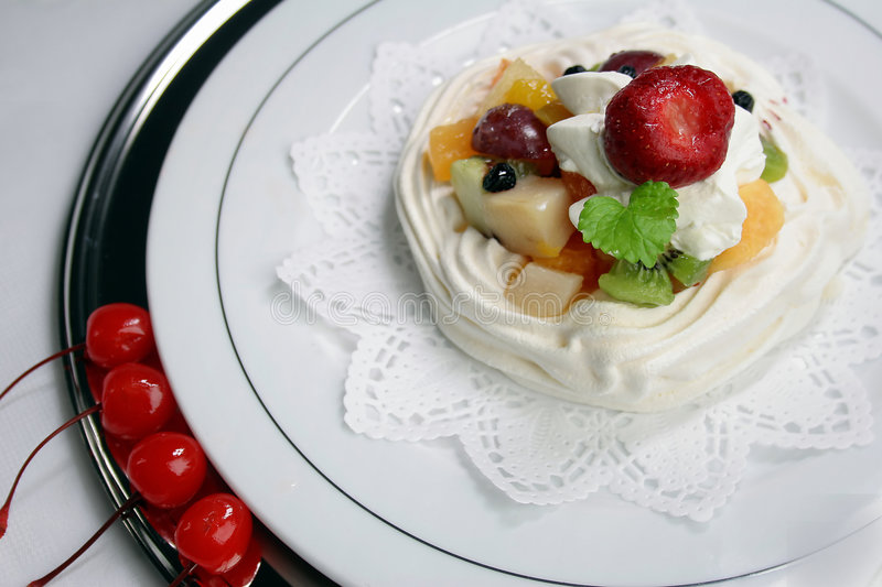 Fruits with whipped cream royalty free stock images