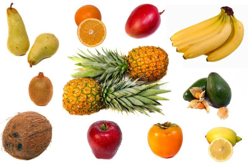 Fruits on white background stock photography