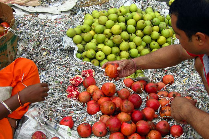 Fruits in the wholesale market. Buyers and sellers meet in the wholesale fruits market of India royalty free stock images