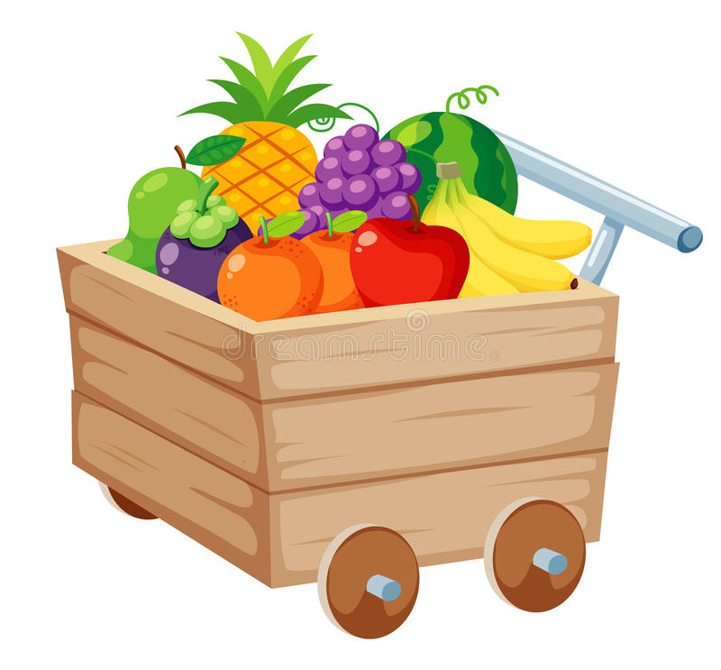 Fruits in Wood trolley