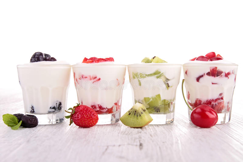 Fruits and yogurt royalty free stock photos