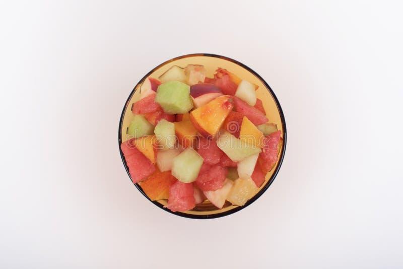 Fruitsalade in glas stock fotografie
