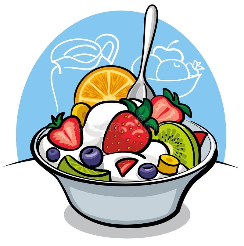 Fruitsalade met yoghurt en aardbei stock illustratie