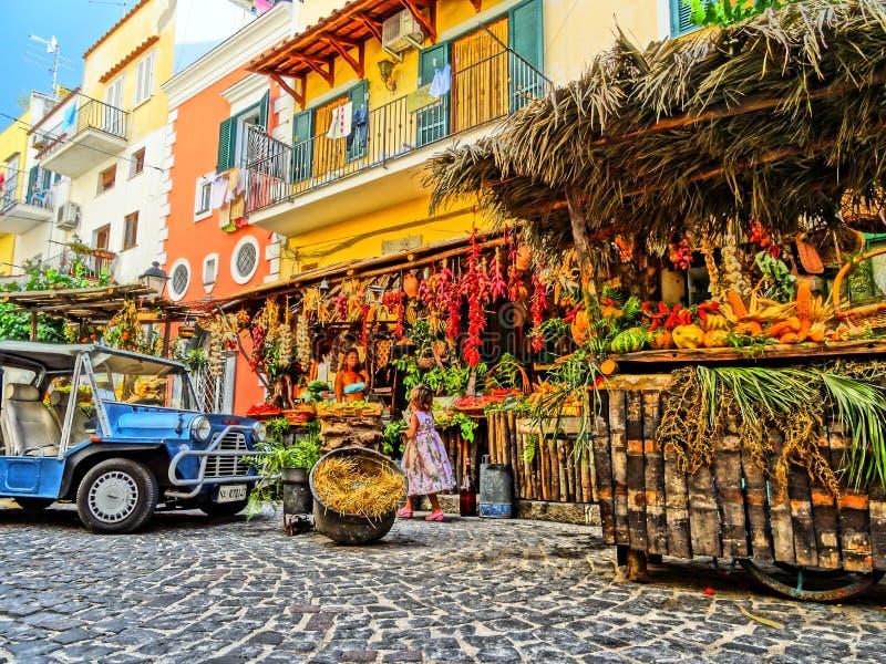 Fruittribune in Ischia stock afbeeldingen