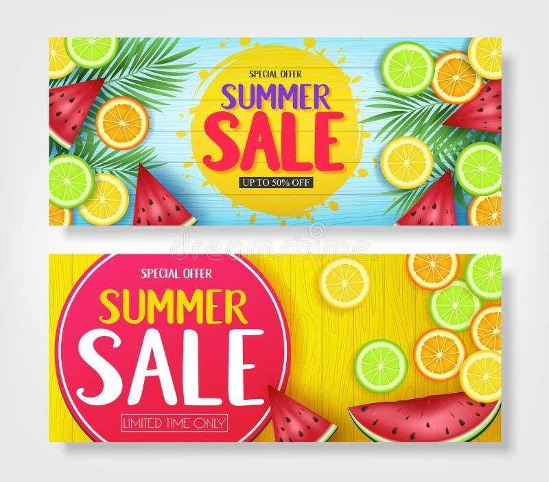 Fruity ζωηρόχρωμα εμβλήματα θερινής πώλησης με τα τροπικά φρούτα καρπουζιών, πορτοκαλιών, ασβέστη και λεμονιών διανυσματική απεικόνιση
