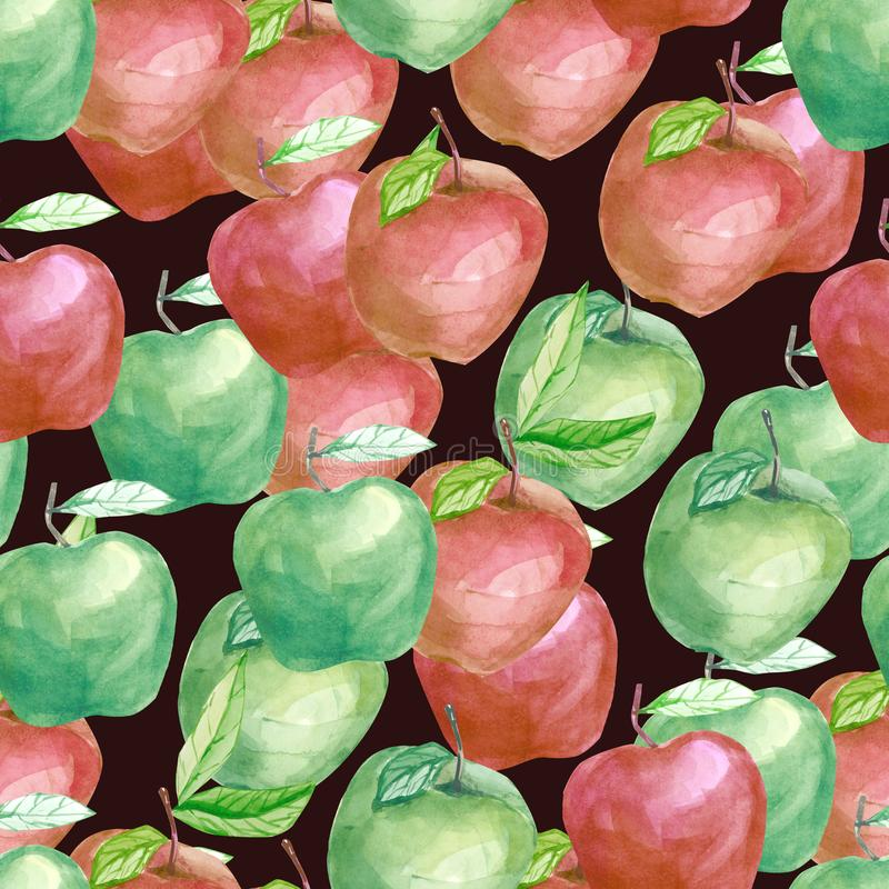 Fruity μήλο όλοι μαζί σχεδίων φρούτων Watercolor, θερινή τυπωμένη ύλη για το υφαντικό ύφασμα, ταπετσαρία, αφίσα απεικόνιση αποθεμάτων