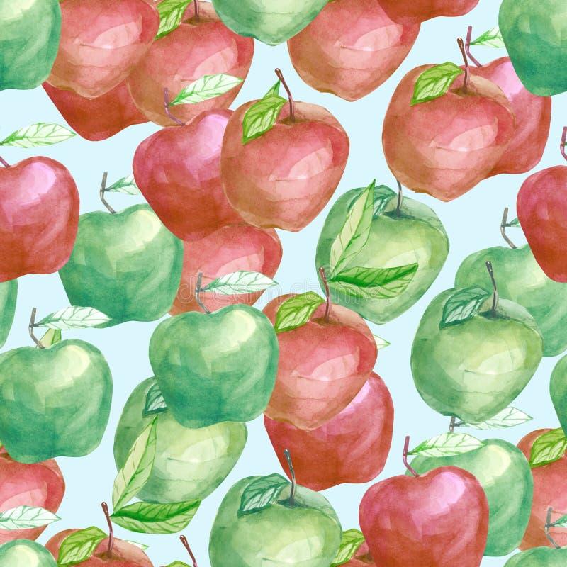 Fruity μήλο όλοι μαζί σχεδίων φρούτων Watercolor, θερινή τυπωμένη ύλη για το υφαντικό ύφασμα, ταπετσαρία, αφίσα διανυσματική απεικόνιση