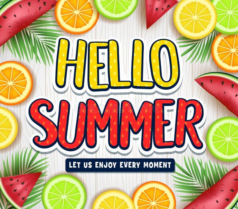 Fruity плакат лета здравствуйте! с листьями, арбузом, апельсином, известкой и лимоном пальмы в белой деревянной предпосылке бесплатная иллюстрация