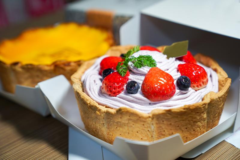 fruity berry cheese tart royalty free stock photo