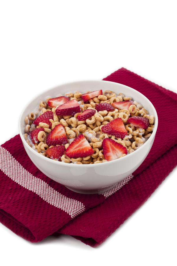 Fruity cereal on a red table stock photography