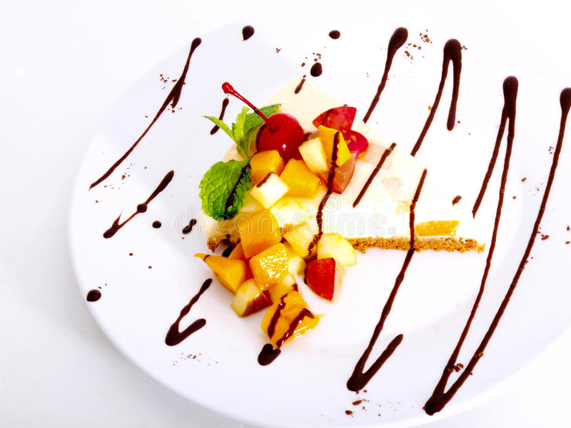 Fruity Cheescake Delight With Choco Royalty Free Stock Photography