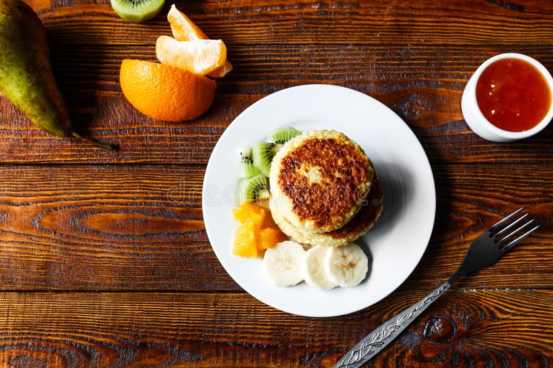 Fruity cheese pancakes stock photo. Image of cuisine - 115450474