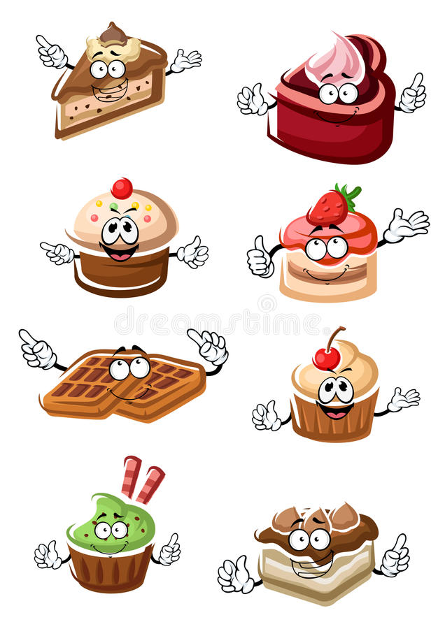 Fruity Desserts Cakes Cupcakes And Waffles Stock Vector
