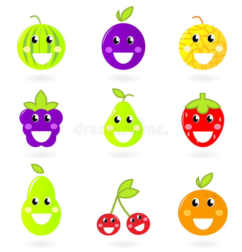 Fruity icon collection - nine Fruit Mascots. royalty free illustration