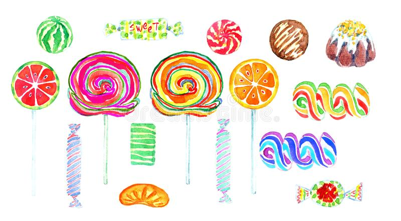 Fruity lollipops και καραμέλες γλυκιάς σοκολάτας των φωτεινών χρωμάτων απεικόνιση αποθεμάτων