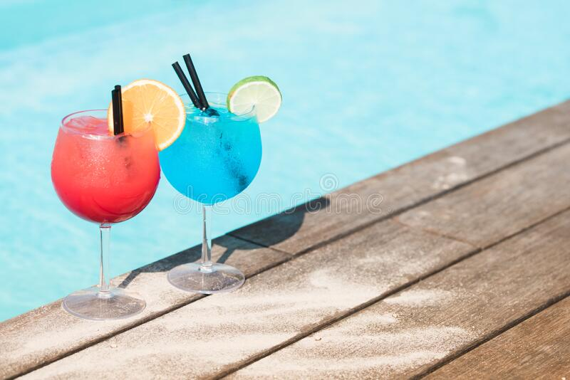 Summer Drinks By The Poolside stock images