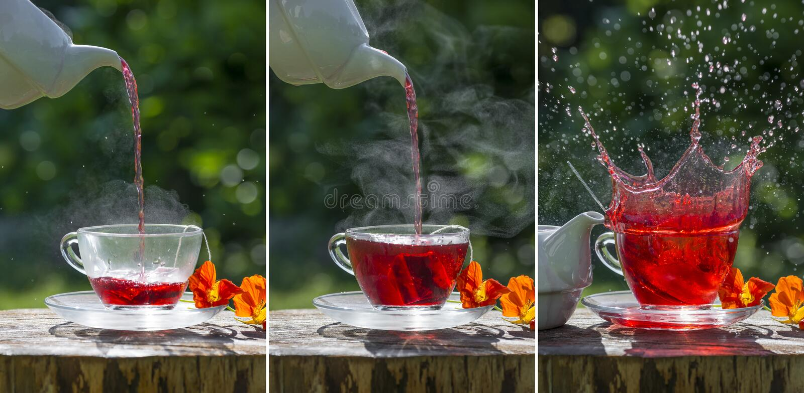 Fruity tea on the garden table. Sequence royalty free stock photography