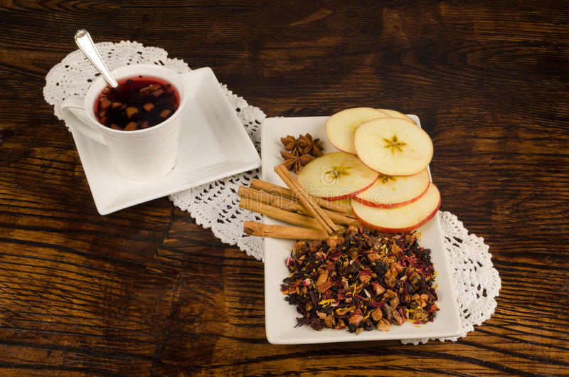 Fruity tea on a wooden table stock photos