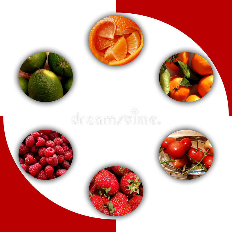 Fruity textures inside six circles. Collection of six circles with shadow and full of fresh fruits: orange pieces, tangerines, cherries, strawberries royalty free stock photos