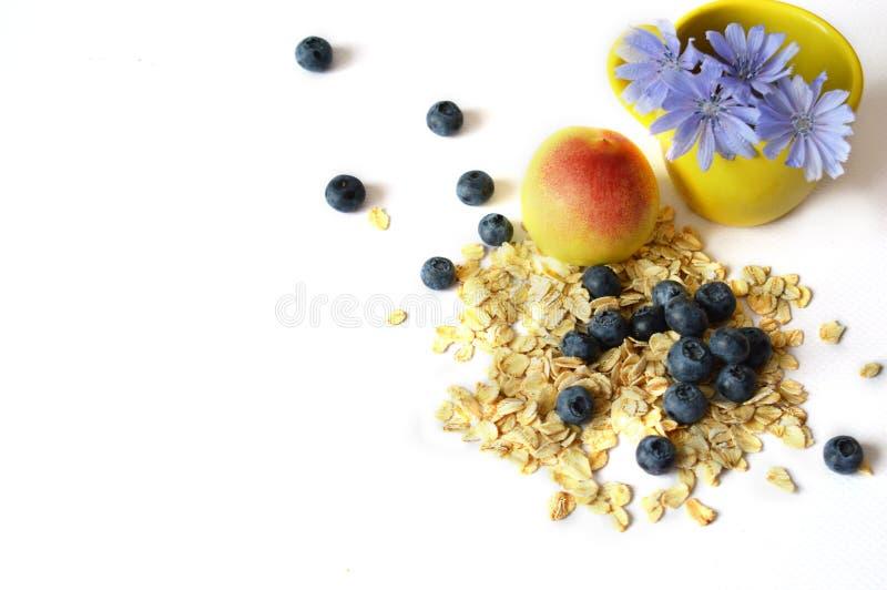 Frukost: havremjöl persika, blåbär, cikoria på en vit bakgrund Sund mat bantar riktig näring royaltyfri fotografi