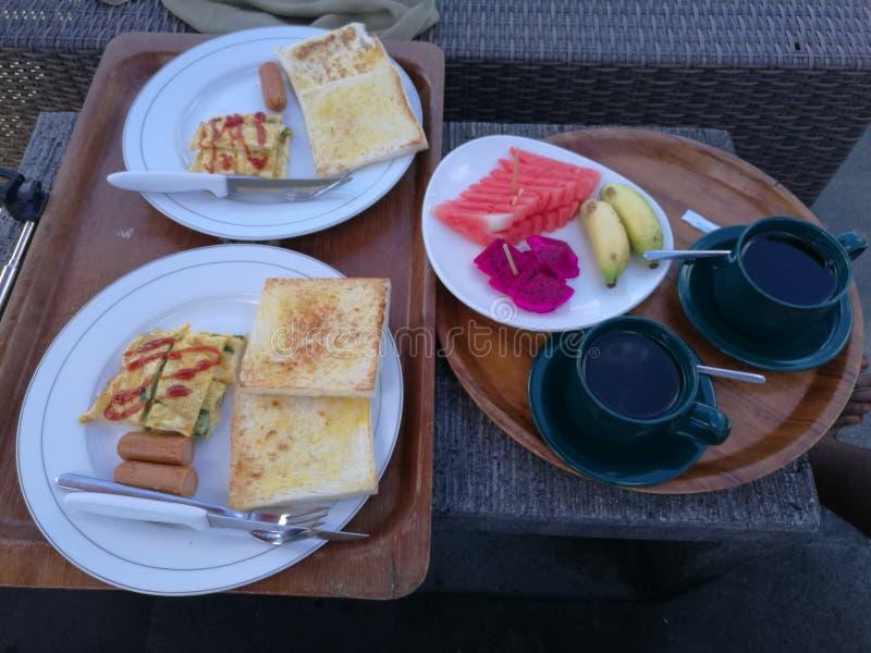 Frukost i den Bali ön Indonesien royaltyfria foton