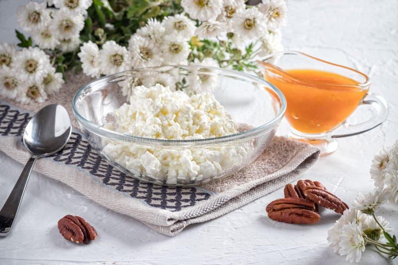 Frukost med ostmassa- och aprikosdriftstopp royaltyfria bilder