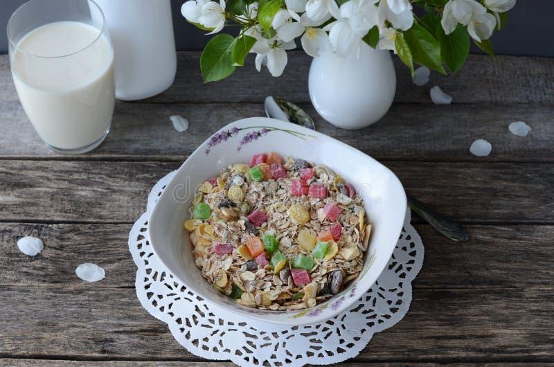 Frukost: myslit med ett exponeringsglas av mjölkar och en bukett av blommande äppleträdfilialer royaltyfri foto