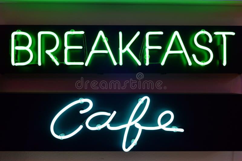 Frukost- och kaféneontecken arkivbild