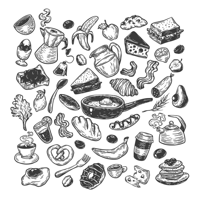 Frukost Tid, uppsättning stock illustrationer