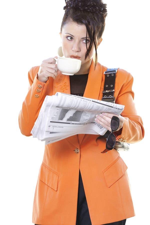 Download Frukostaffärskvinna s arkivfoto. Bild av handel, kaffe, arbetare - 31540