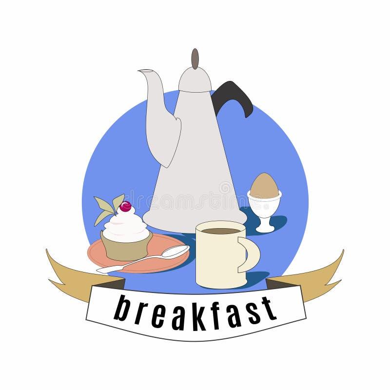 Frukostaffisch Kaffe, kaka och ägg Colorfool tappningillustration vektor illustrationer