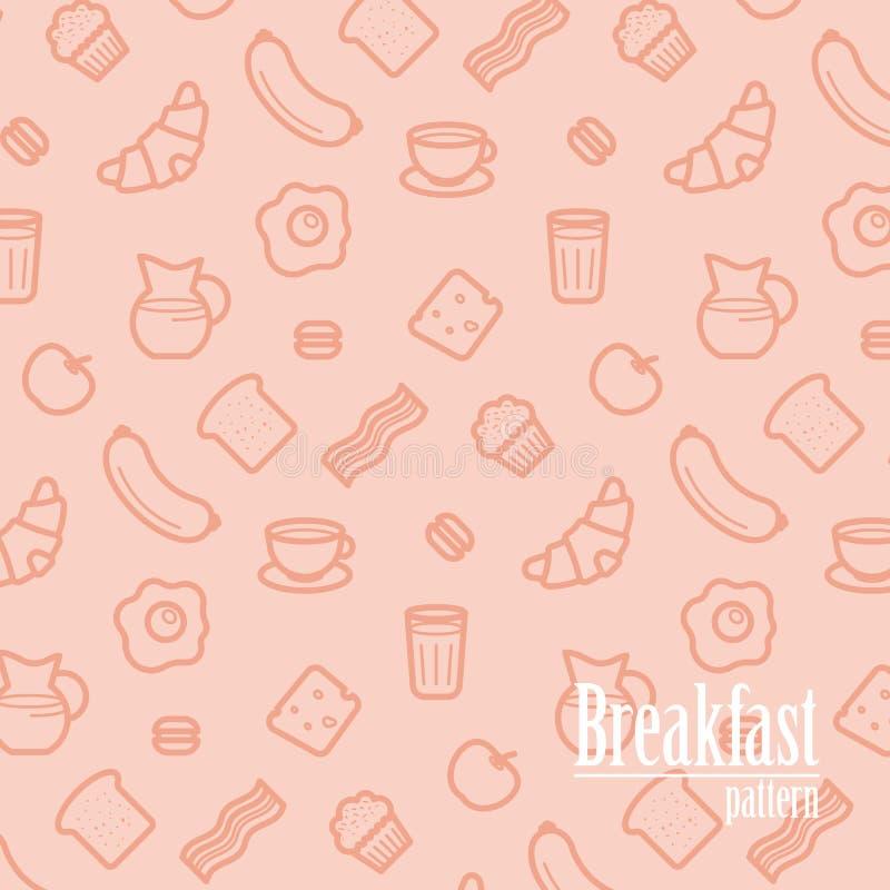 Frukostbakgrund Den sömlösa modellen med linjen symboler av mat gillar korven, bröd, gifflet, bacon, muffin, kaffe, mjölkar etc. royaltyfri illustrationer