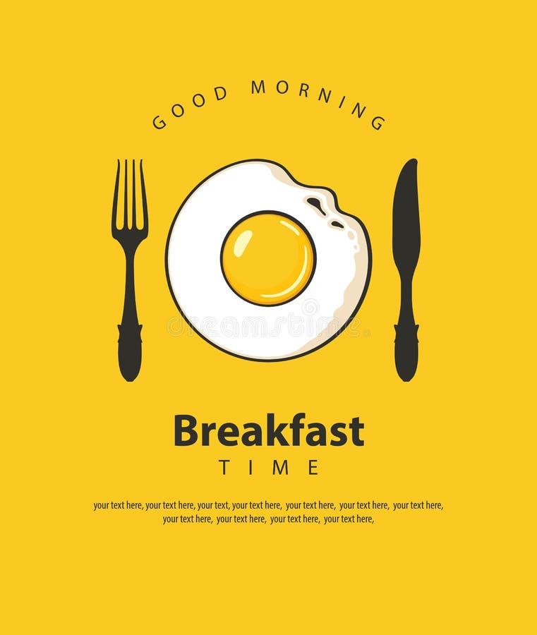 Frukostbaner med det stekte ägget, gaffeln och kniven royaltyfri illustrationer