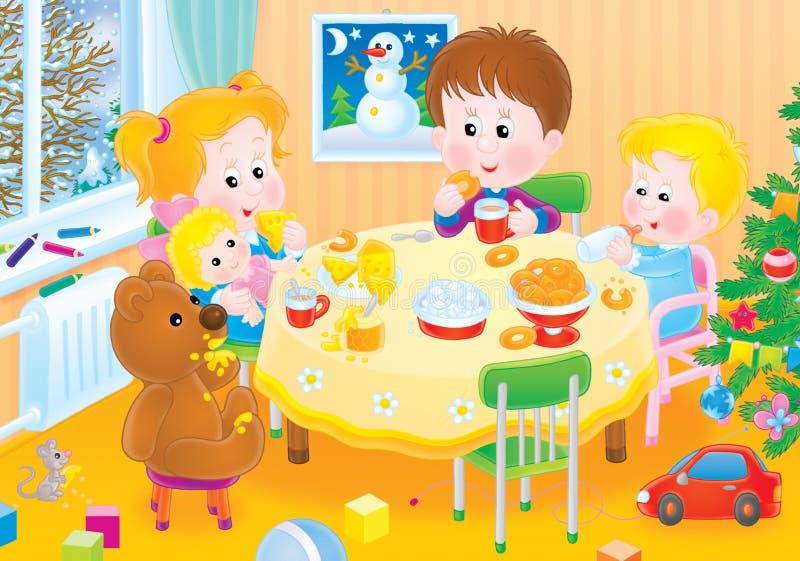 frukostbarn royaltyfri illustrationer