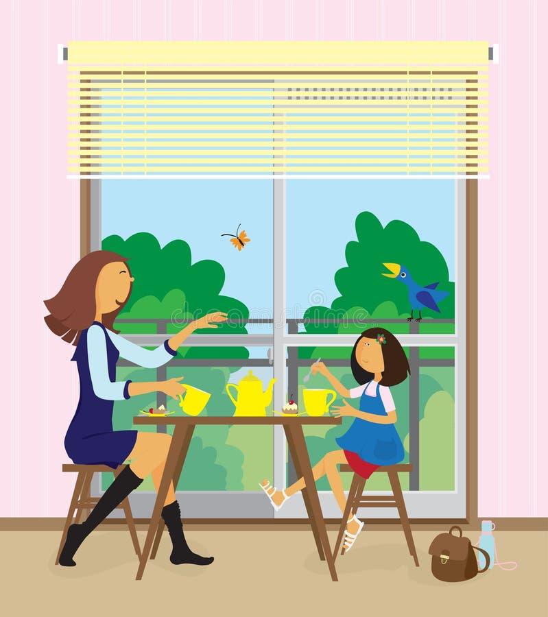 frukostdottern har henne kvinnabarn royaltyfri illustrationer