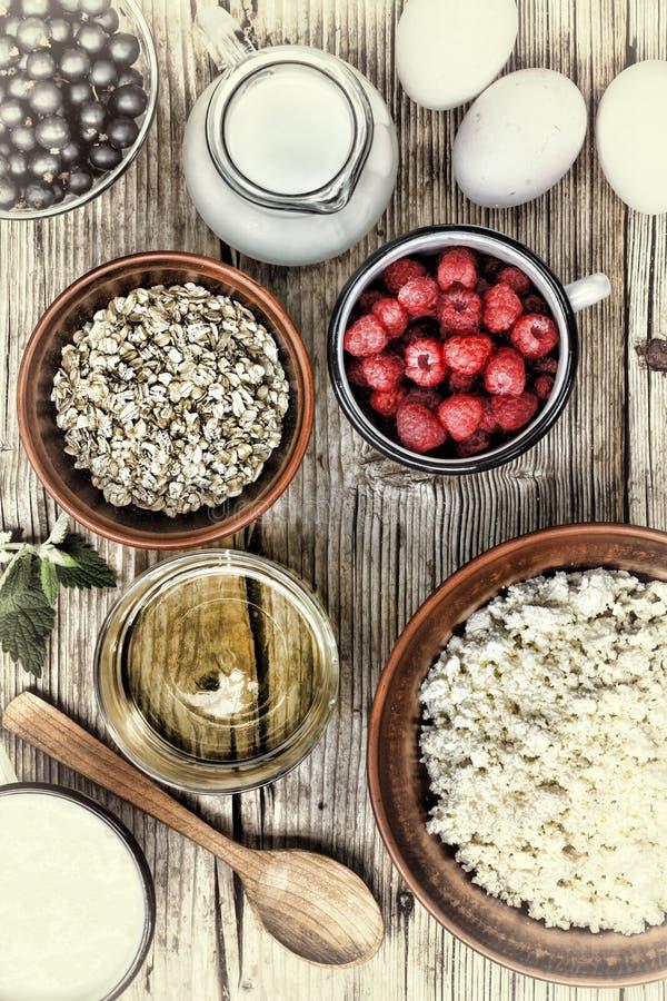 Frukosten mat, sött, sunt som är sädes-, bantar, organiskt, yoghurt, arkivfoton