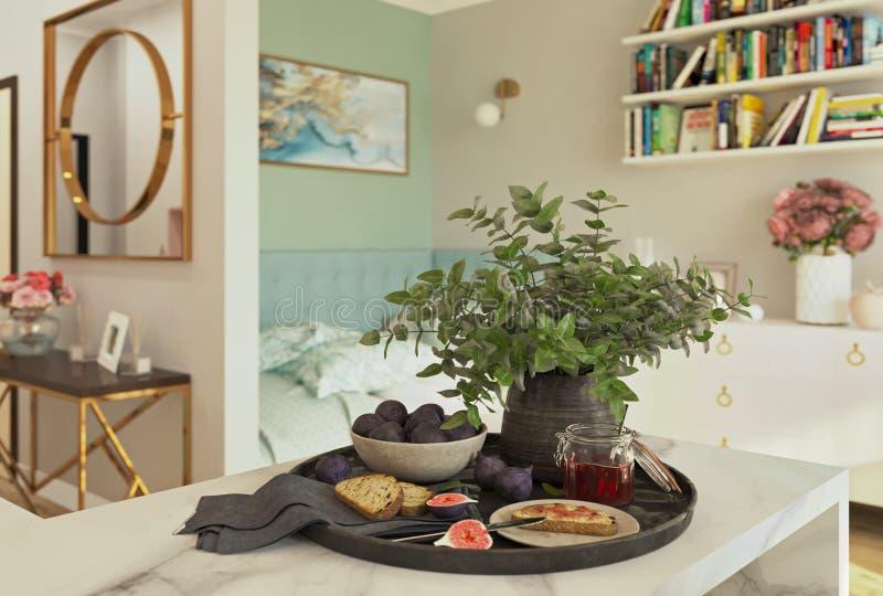 Frukosten med bröd, fikonträd och driftstopp, 3d framför vektor illustrationer