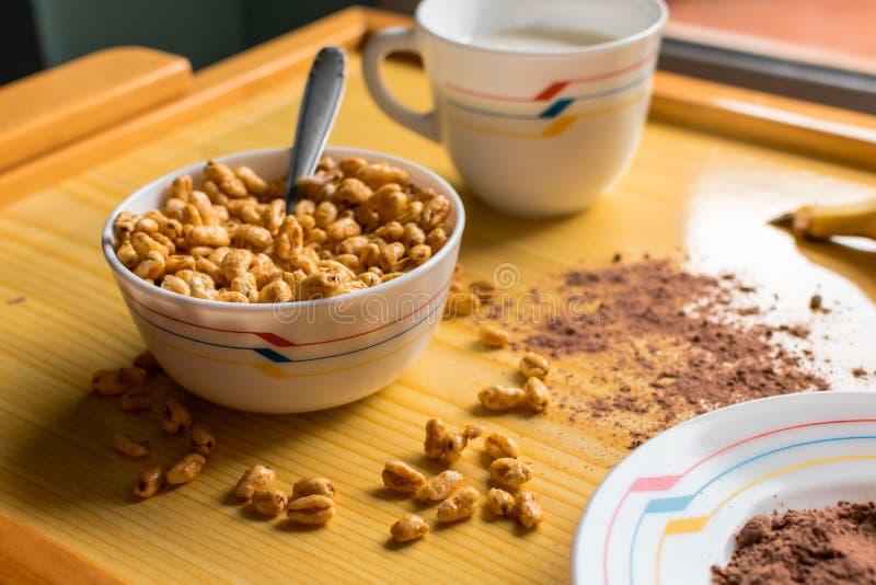 Frukosten med sädesslag i en bunke med mjölkar, kakao och bananen arkivfoto