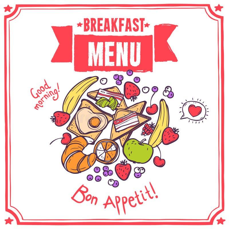 Frukosten skissar menyn stock illustrationer