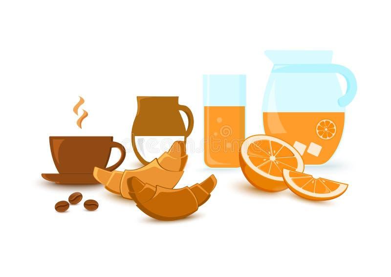 Frukosten ställde in - koppen med kaffe, mjölkar, giffel, orange fruktsaft och citrusfrukt ocks? vektor f?r coreldrawillustration royaltyfri illustrationer