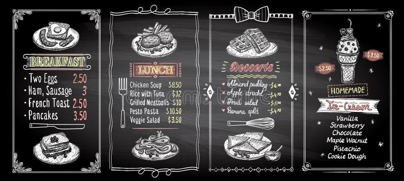 Frukostera, äta lunch, efterrätter, och för svart tavlameny för glass designer för lista ställer in, räcker den utdragna grafiska royaltyfri illustrationer