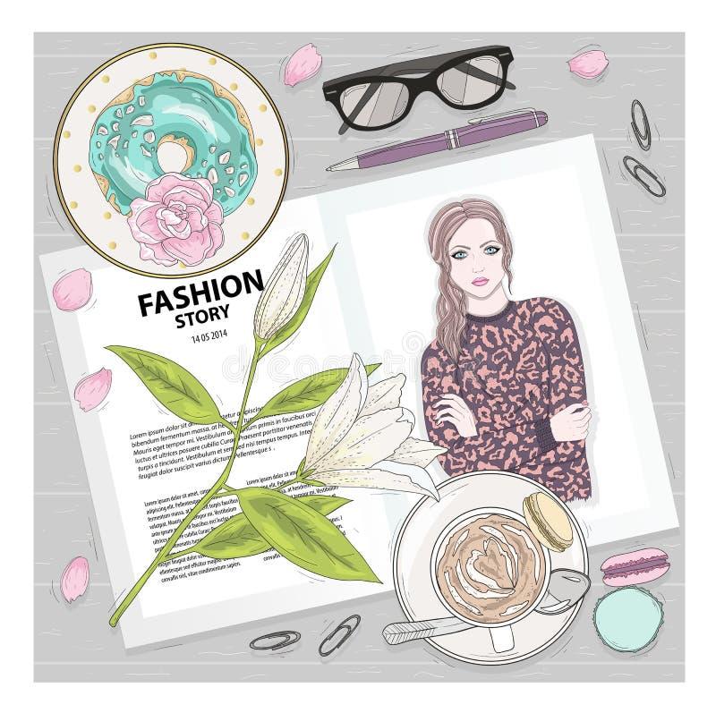 Frukostera bakgrund med tidskriften, kaffe, makron, blomma royaltyfri illustrationer