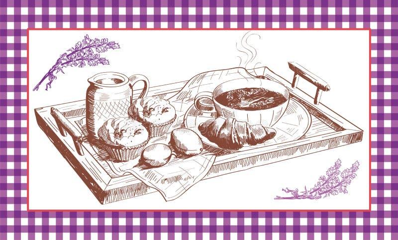 frukostera fransmannen vektor illustrationer