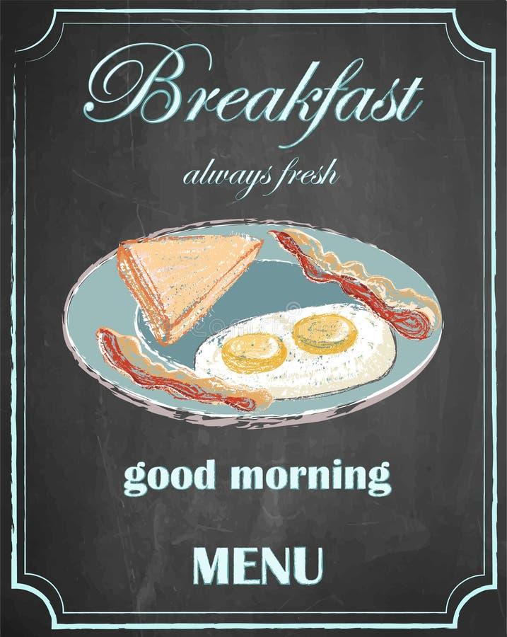 Frukostera menyn på svart tavlabakgrund, den bra morgonen, vektor, I stock illustrationer