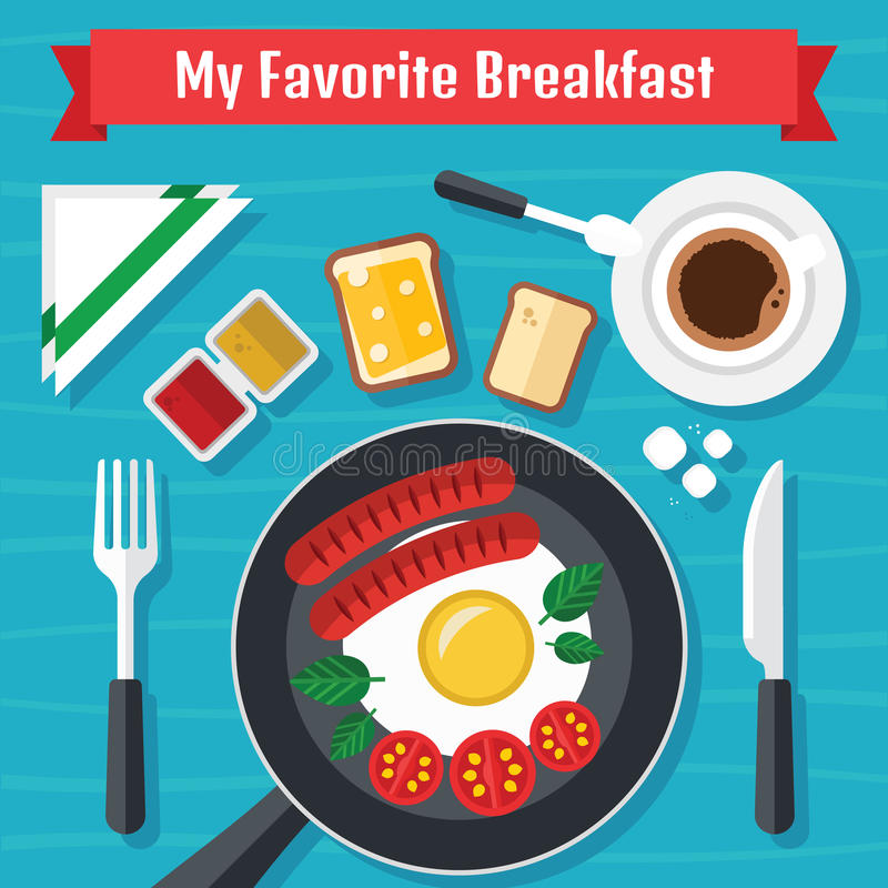 Frukostillustration med ny mat i en plan design arkivfoton